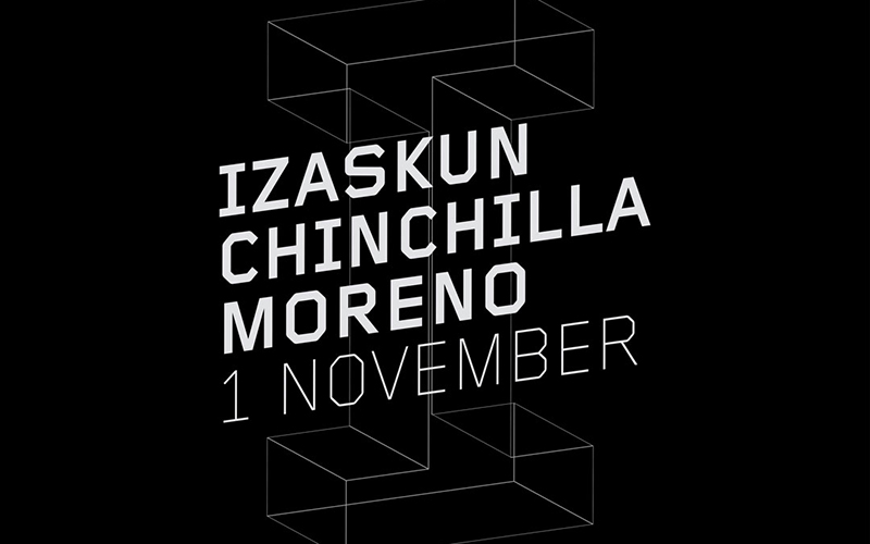 Black and white image promoting Isaskun Chinchilla Moreno's talk on 1 November