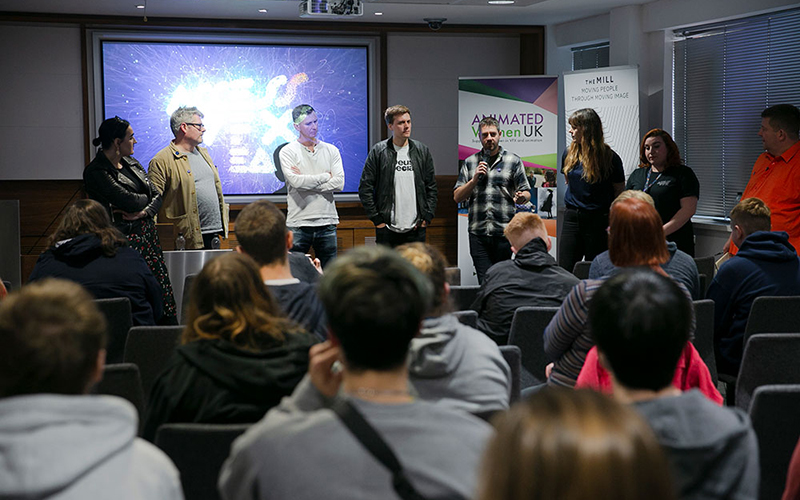 Photo of Access: VFX talk with speakers from the VFX industry talking to students