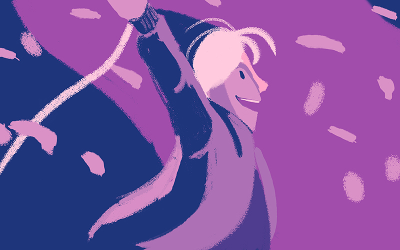 Animation still in purple and blue showing a girl smiling with her arms in the air