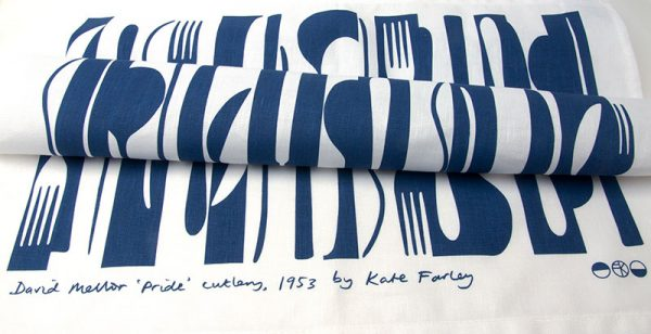 - Blue and white cloth by textile designer Kate Farley