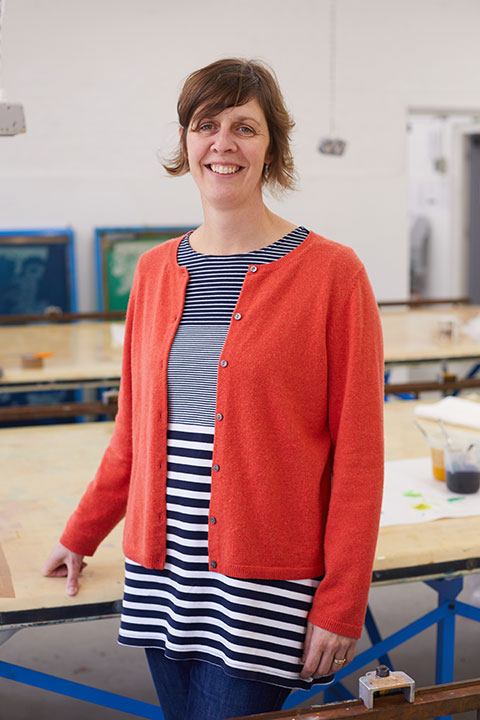 Kate Farley, Course Leader for Fashion and Textile Design at Norwich University of the Arts in the Textiles studio