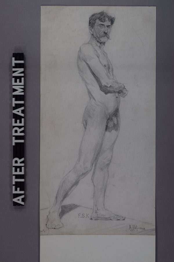 - Drawing of a nude man by Alfred Munnings after restoration