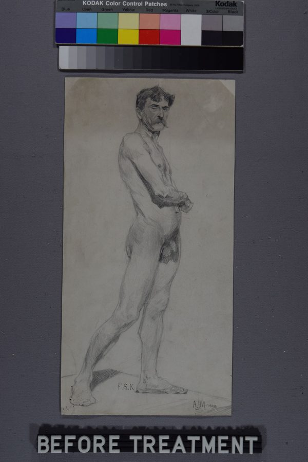 - Drawing of a nude man by Alfred Munnings before restoration