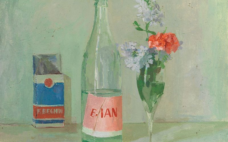 Painting of cigarette packet, Evian bottle and flowers from Dubery and Brogden Two Lives in Colour East Gallery show