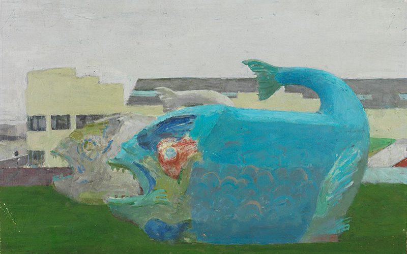 Fairground Fish by Fred Dubery - painting of fish in fairground looking menacing