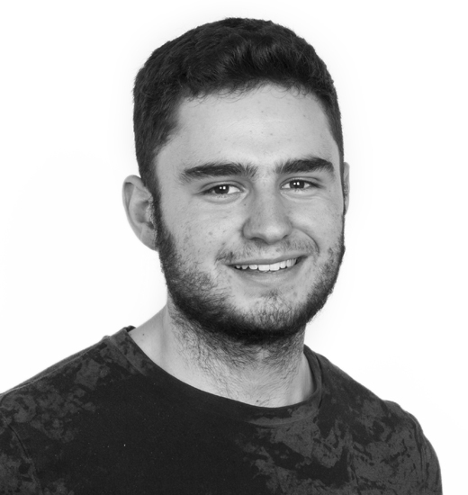 Black and white portrait photo of VFX graduate Jack Pond