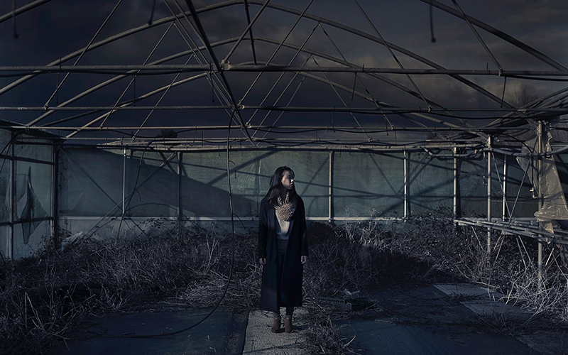 Photograph in dark colours depicting a woman stood in the middle of a large glasshouse
