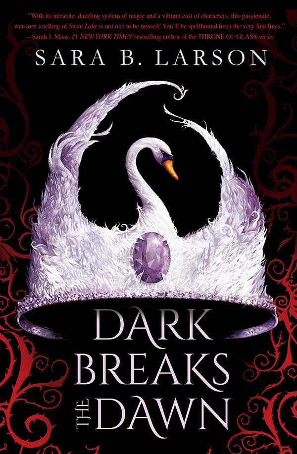 - Book cover of Dark Breaks the Drawn, illustrated by Chris Gibbs showing a crown made of a swan