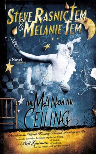 - Blue book cover with moon and stars and strange character by illustrated by Chris Gibbs, The Man on the Ceiling