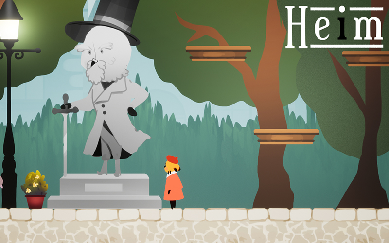 Still from a game showing a 2D tree next to a stone statue and a small figure in an orange coat