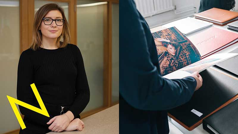 Rhian John of Norwich University of the Arts next to a picture of portfolios