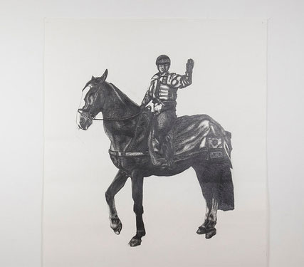 Paul Digby drawing of a man on a horse