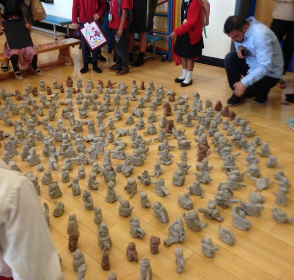 - Modelled clay sculptures by Paul Digby and schoolchildren of Lionwood School