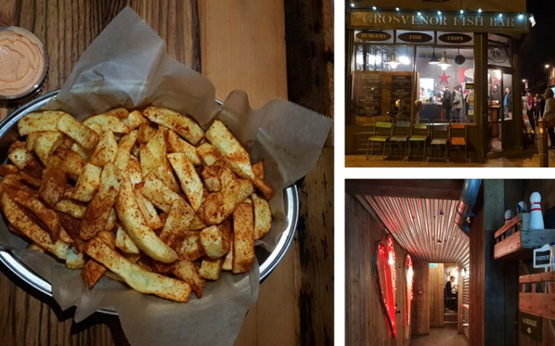 Three images; chips in a bowl, the outside of Grosvenors Fish Bar, Norwich and the downstairs seating area with neon lights