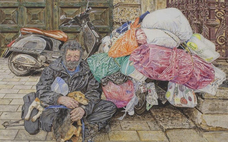 Painting by Philip Bayliss Brown depicting a homeless man sat on the pavement surrounded by colourful bin bags