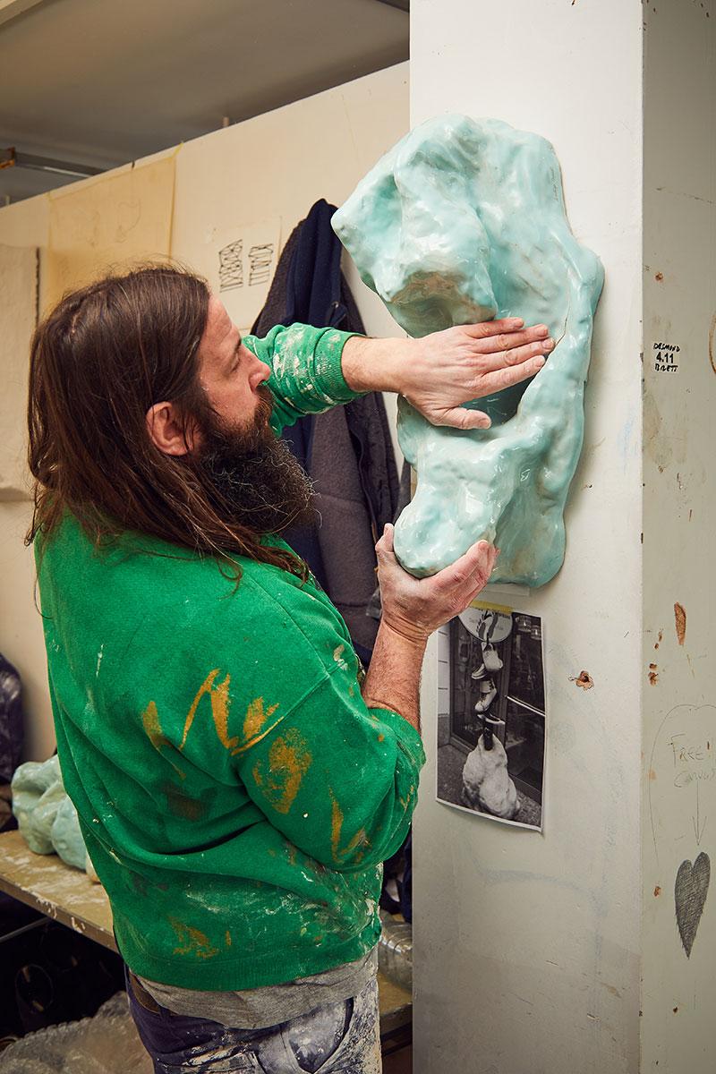 Desmond Brett with sculpture