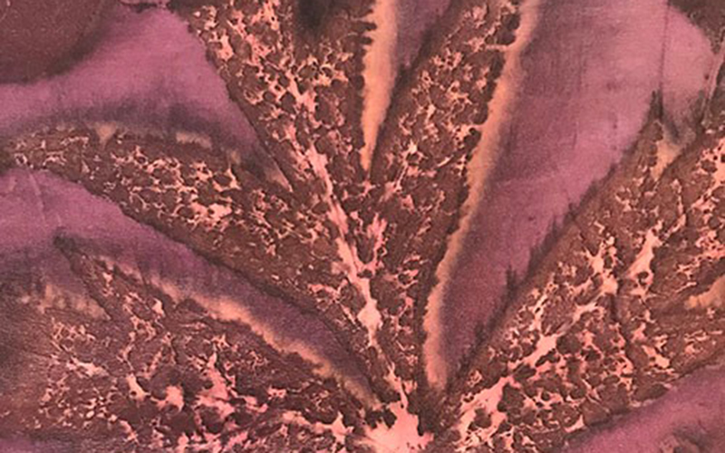 Close up of botanical print on fabric