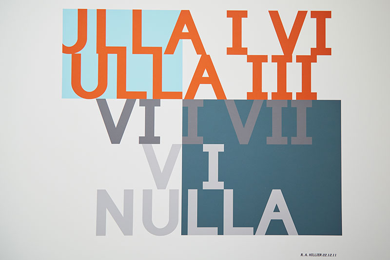 Coloured typographic work by graphics Lecturer Rob Hillier