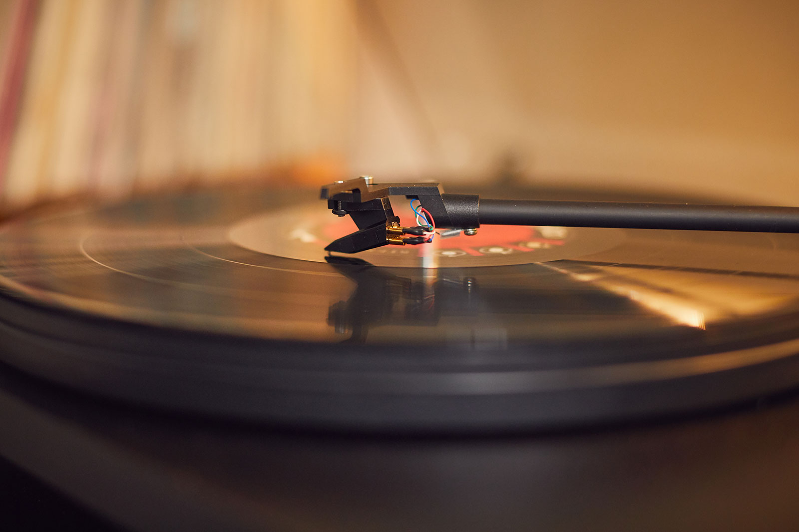 Close up of record player and vinyl
