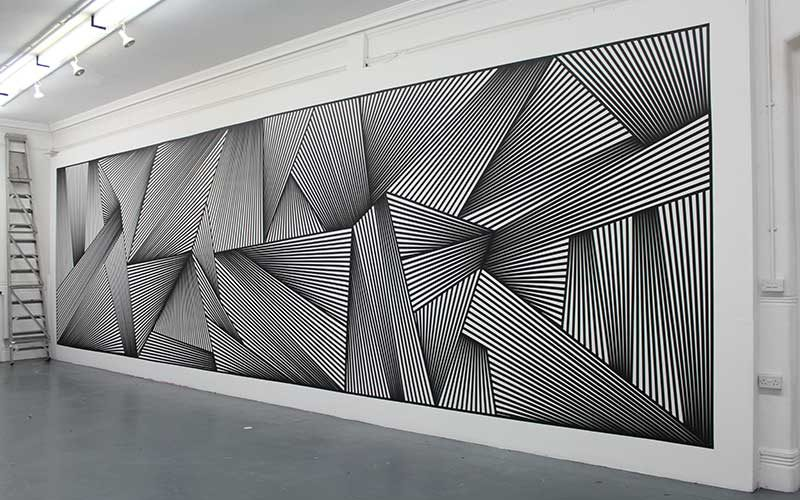 Student work by George Wark of Norwich University of the Arts BA Fine Art course showing strips of black tape