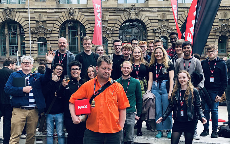 Group photo of VFX staff and students at FMX in Stuttgart