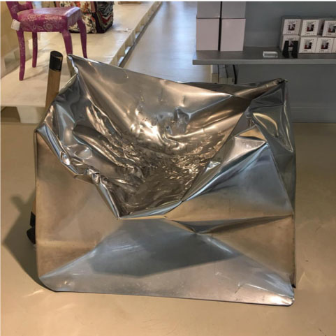 Do Hit chair made of aluminium in a museum in Amsterdam
