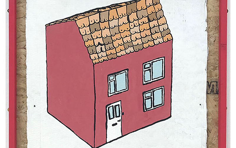 Drawing of a pink house with a white front door and breasts as roof tiles
