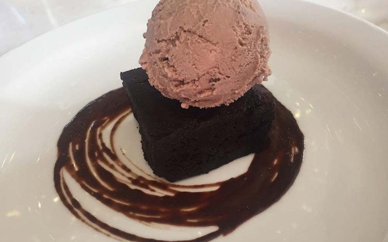 Vegan ice-cream on a brownie at Erpingham House, Norwich