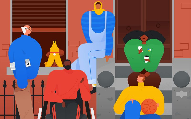 Illustration by BA Illustration course graduate Adam Avery that shows various people in Google colours