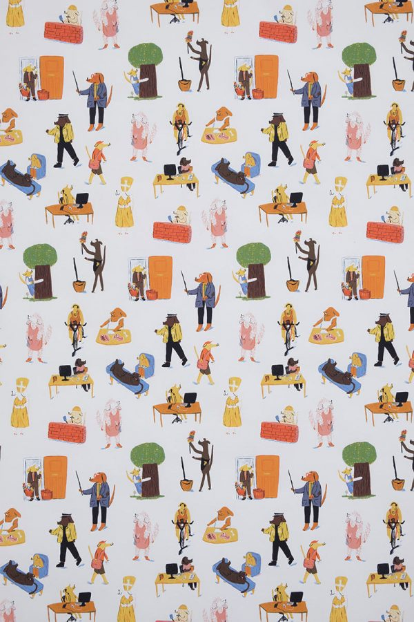 Florence Poppy Dennis - Close up of a design by BA Textile Design Florence Poppy Dennis, showing dogs