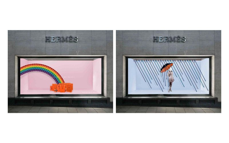 Student work by BA Fashion and Communication and Promotion student Beth Poulter showing visual merchandising in a window with a rainbow and a woman with an umbrella