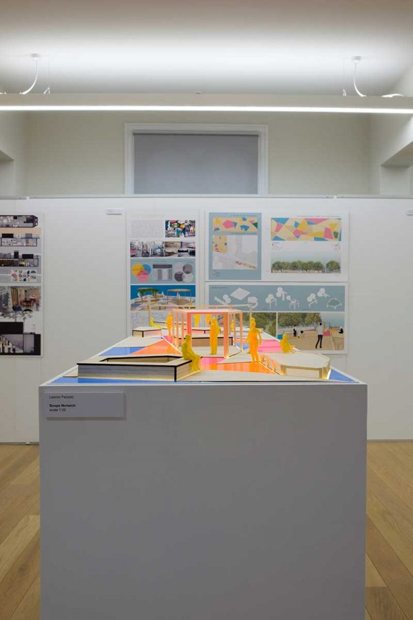 - BA Interior Design course student work on a plinth and wall in the Norwich University of the Arts Degree Show