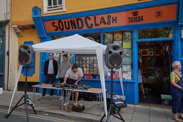 Soundclash, independent record store - DJ playing outside Soundclash at the Norwich Lanes Fair