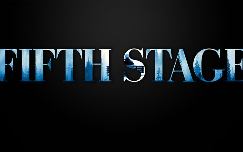 Black background with the letters Fifth Stage showing a blue landscape through them