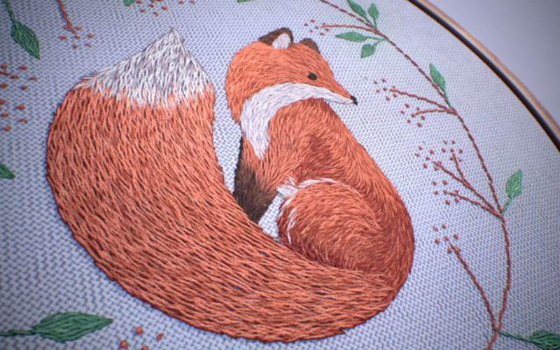 Image depicting a stitched red fox on an embroidery hoop