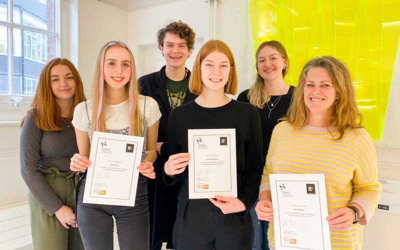 The new East Anglia Art Fund Scholars 2019-20 with their certificates.