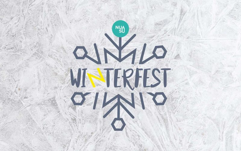 Winterfest logo surrounded by snowflakes