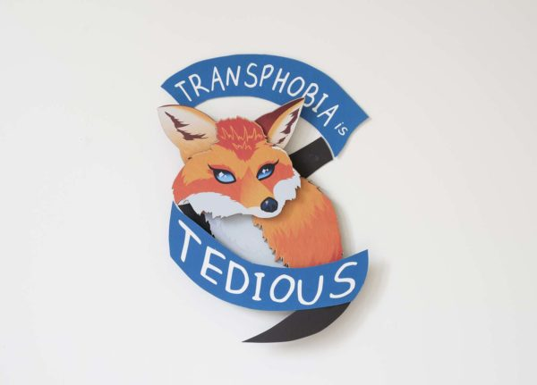 Harry Pearce, MA Communication Design - Illustration of a fox surrounded by a banner that says Transphobia is Tedious