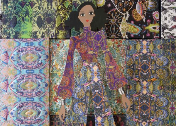 Naomi Povey, MA Textile Design - Colourful intensely patterned photo of tesselating textiles panels with an illustration of a woman in the middle