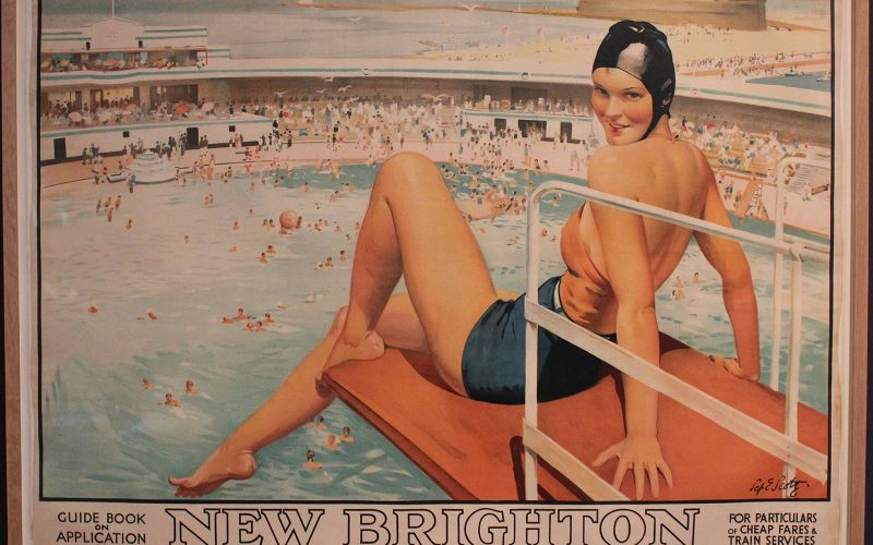 Image from Art Deco by the Sea at the Sainsbury Centre of a vintage postcard from the 30s beach and leisure scene