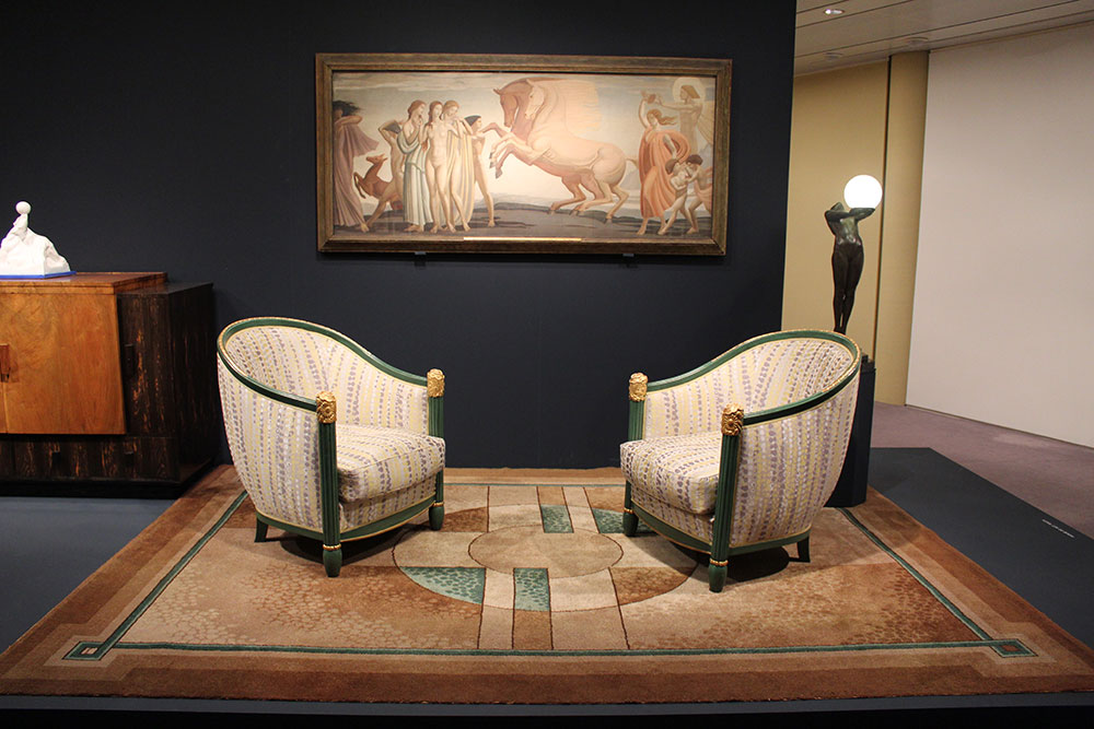 Two chairs on a rug in the Art Deco by the Sea Exhibition