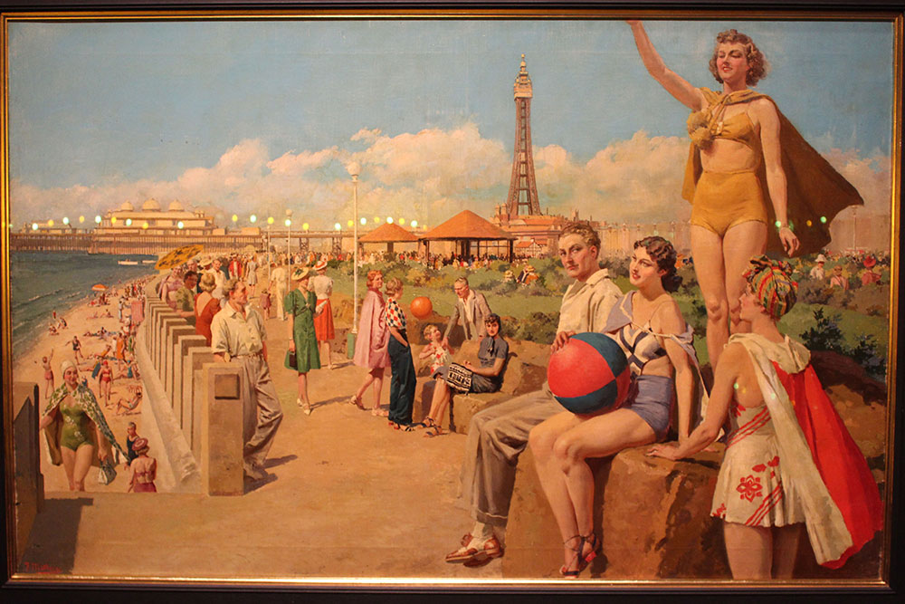 Image from the Art Deco by the Sea exhibition showing painting of people on the beach in a vintage era