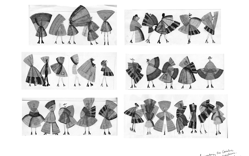 A sheet of grayscale fashion illustrations by BA Fashion student Emily Saunders