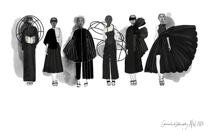 Six black and grey fashion illustrations by BA Fashion student Emily Saunders