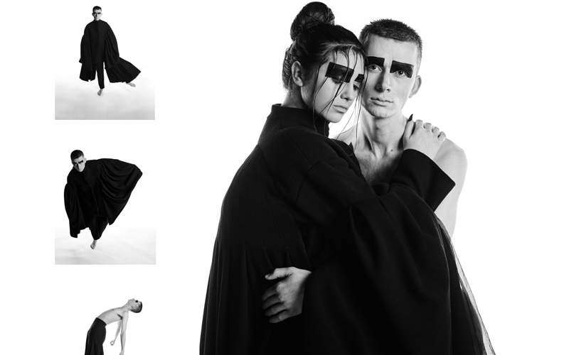 Black and white photoshoot of a male and female model dressed in draping black fabrics by BA Fashion student Emily Saunders