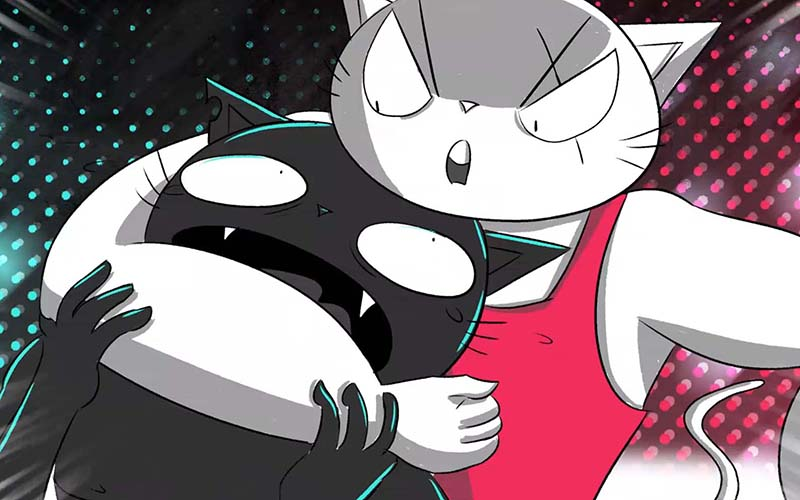 Illustration showing a white cat in a red outfit holding a black cat in a chokehold