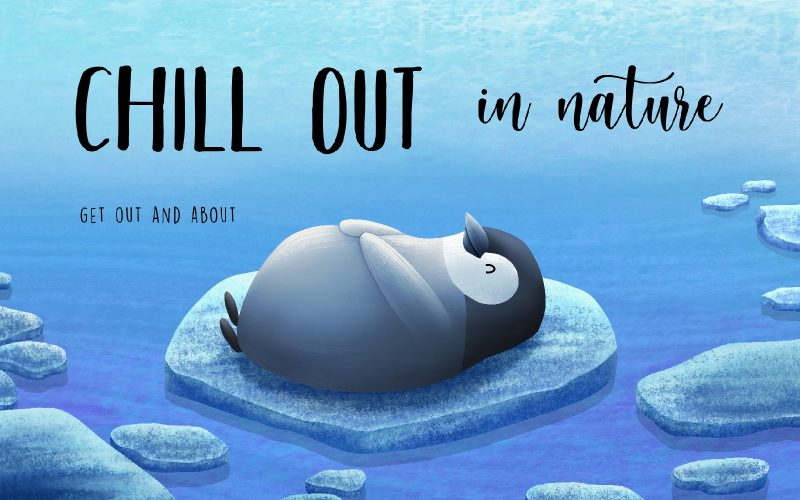 Digital illustration by BA Illustration student Sophie Kent of a penguin lying on an ice-berg