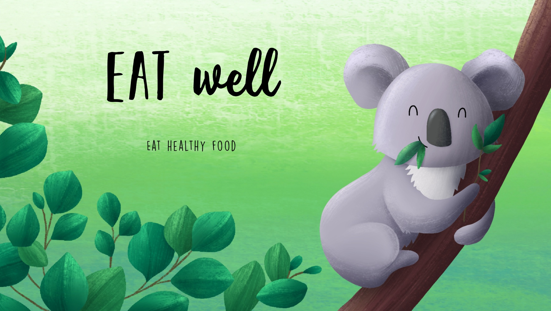 Digital illustration of a koala bear on a tree eating a leaf in a tree by BA Illustration student Sophie Kent
