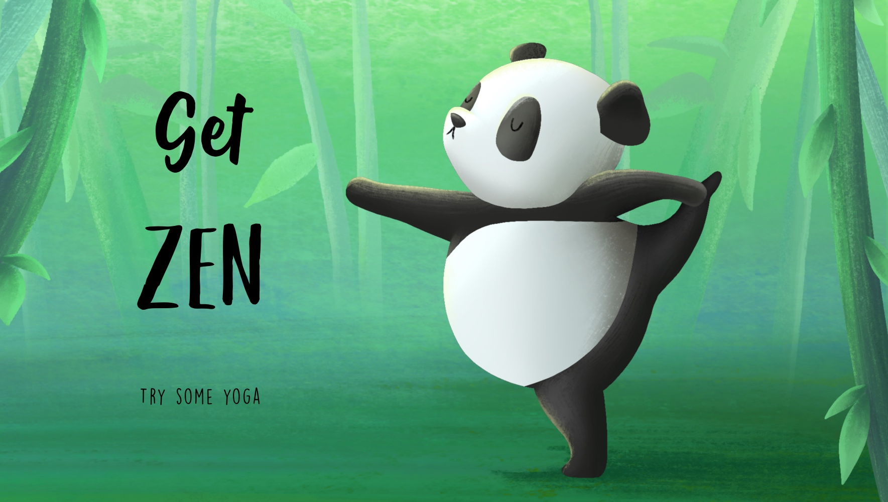Digital illustration of a panda doing yoga by BA Illustration student Sophie Kent