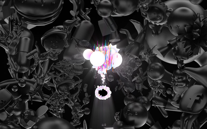 Animation still showing densely packed black and dark grey shapes with a small cluster of bright white and pink shapes in the centre